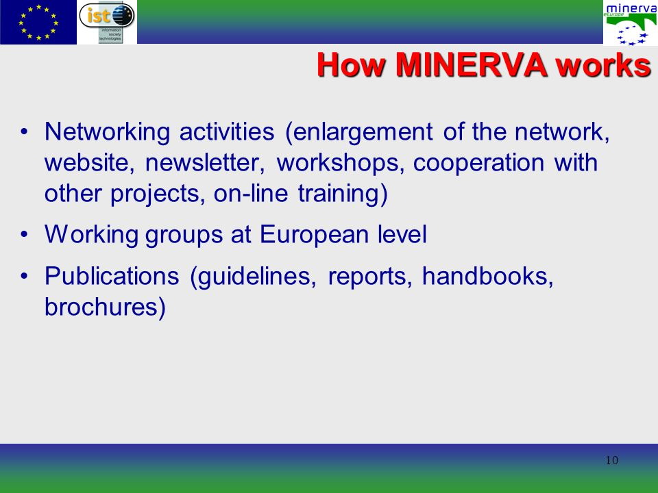 10 How MINERVA works Networking activities (enlargement of the network, website, newsletter, workshops, cooperation with other projects, on-line training) Working groups at European level Publications (guidelines, reports, handbooks, brochures)