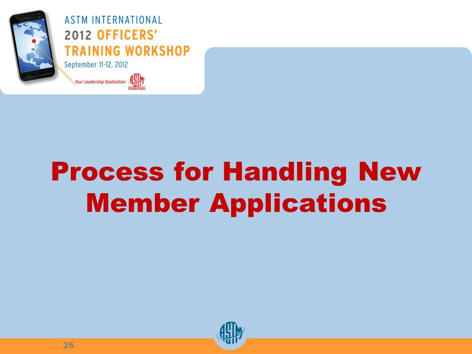 Process for Handling New Member Applications 25