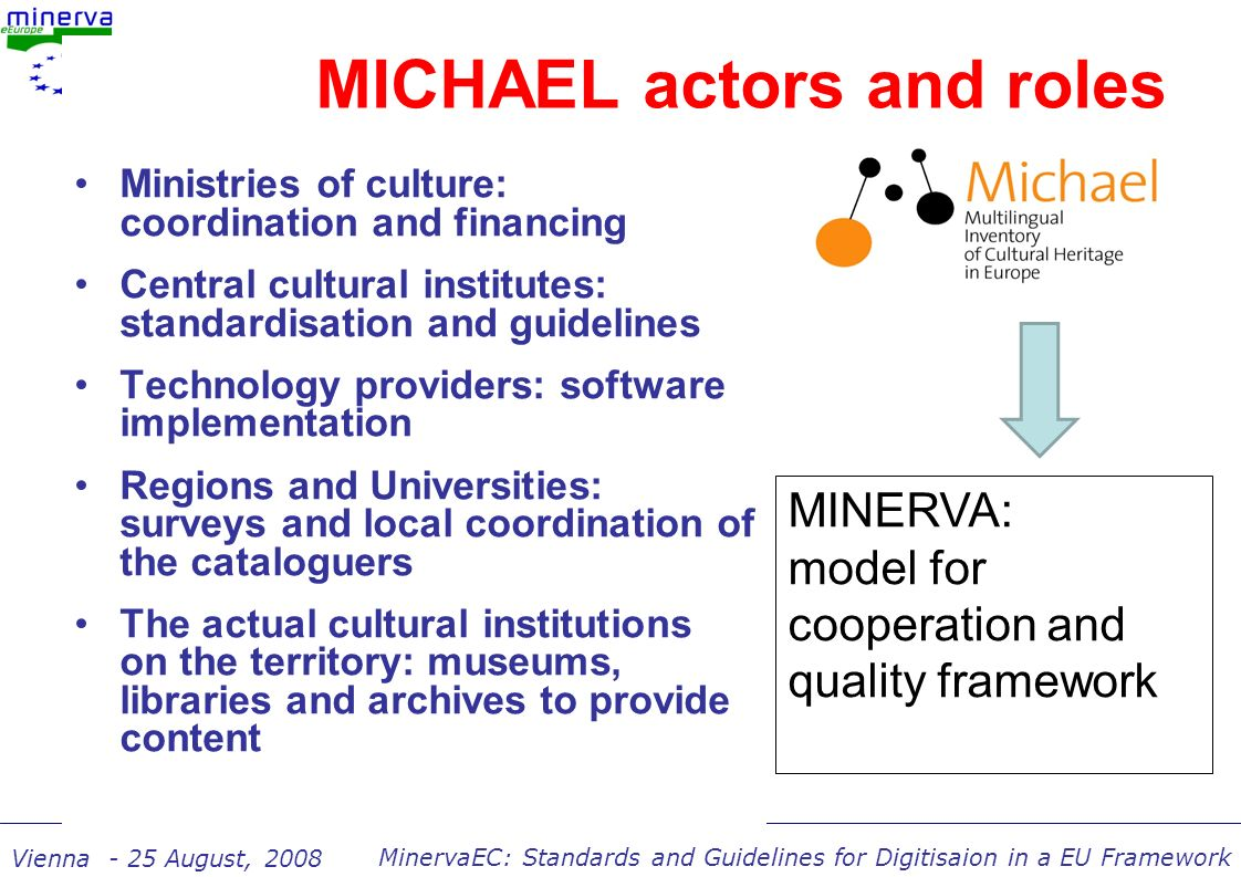 MinervaEC: Standards and Guidelines for Digitisaion in a EU Framework Vienna - 25 August, 2008 MICHAEL actors and roles Ministries of culture: coordination and financing Central cultural institutes: standardisation and guidelines Technology providers: software implementation Regions and Universities: surveys and local coordination of the cataloguers The actual cultural institutions on the territory: museums, libraries and archives to provide content MINERVA: model for cooperation and quality framework