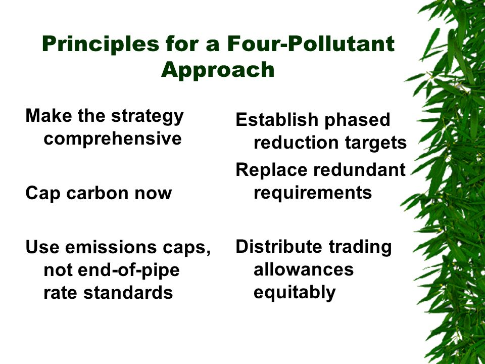 Principles for a Four-Pollutant Approach Make the strategy comprehensive Cap carbon now Use emissions caps, not end-of-pipe rate standards Establish phased reduction targets Replace redundant requirements Distribute trading allowances equitably
