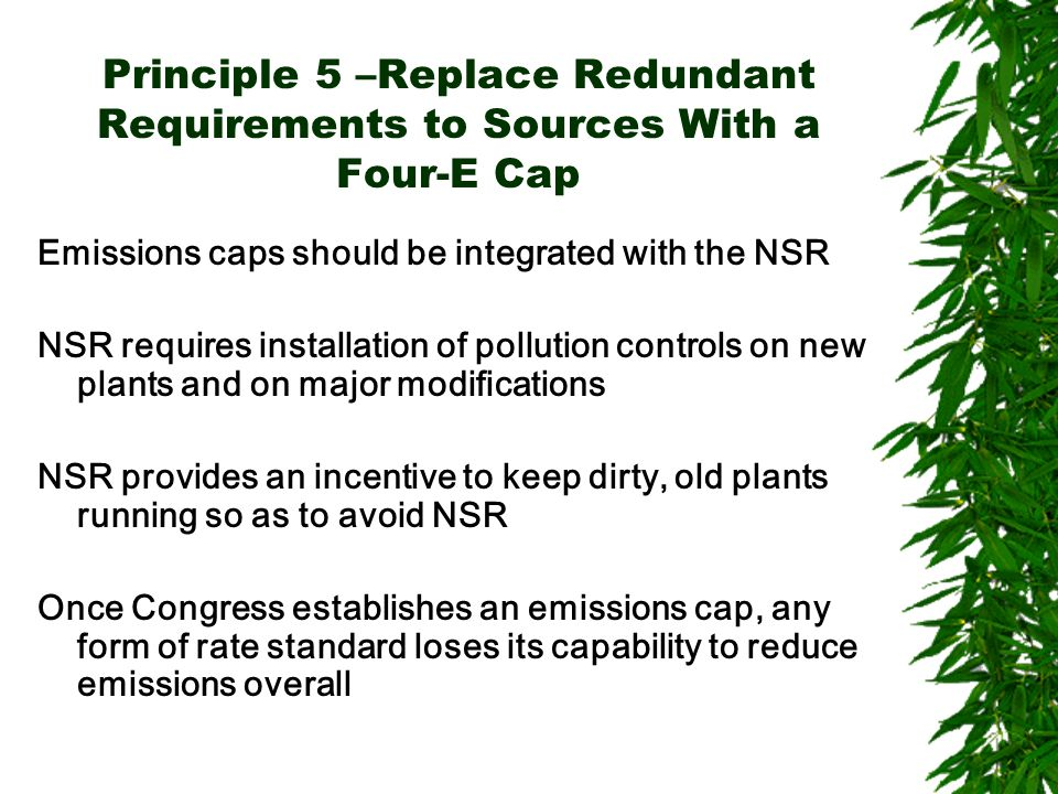Principle 5 –Replace Redundant Requirements to Sources With a Four-E Cap Emissions caps should be integrated with the NSR NSR requires installation of pollution controls on new plants and on major modifications NSR provides an incentive to keep dirty, old plants running so as to avoid NSR Once Congress establishes an emissions cap, any form of rate standard loses its capability to reduce emissions overall