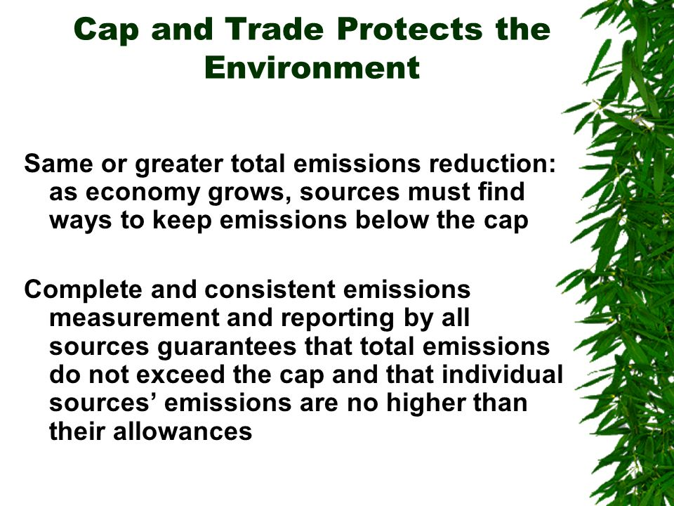 Cap and Trade Protects the Environment Same or greater total emissions reduction: as economy grows, sources must find ways to keep emissions below the cap Complete and consistent emissions measurement and reporting by all sources guarantees that total emissions do not exceed the cap and that individual sources emissions are no higher than their allowances