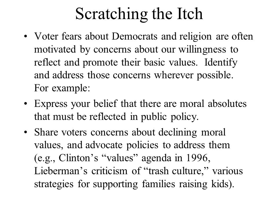 Scratching the Itch Voter fears about Democrats and religion are often motivated by concerns about our willingness to reflect and promote their basic values.