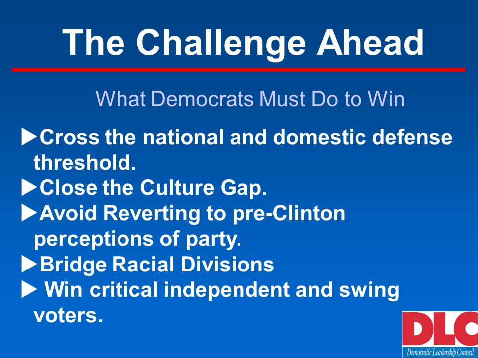 The Challenge Ahead Cross the national and domestic defense threshold.