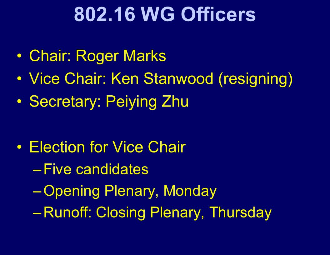 802.16 WG Officers Chair: Roger Marks Vice Chair: Ken Stanwood (resigning) Secretary: Peiying Zhu Election for Vice Chair –Five candidates –Opening Plenary, Monday –Runoff: Closing Plenary, Thursday