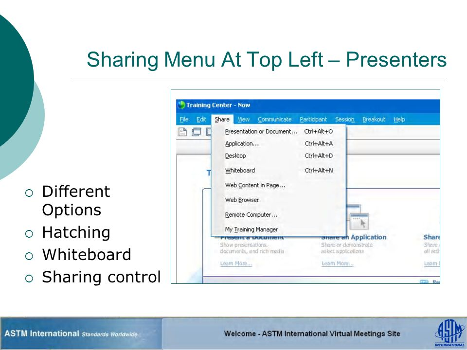 Sharing Menu At Top Left – Presenters Different Options Hatching Whiteboard Sharing control