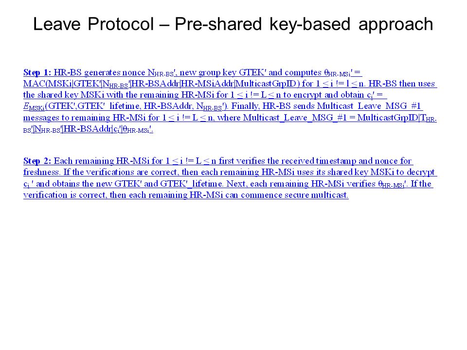 Leave Protocol – Pre-shared key-based approach