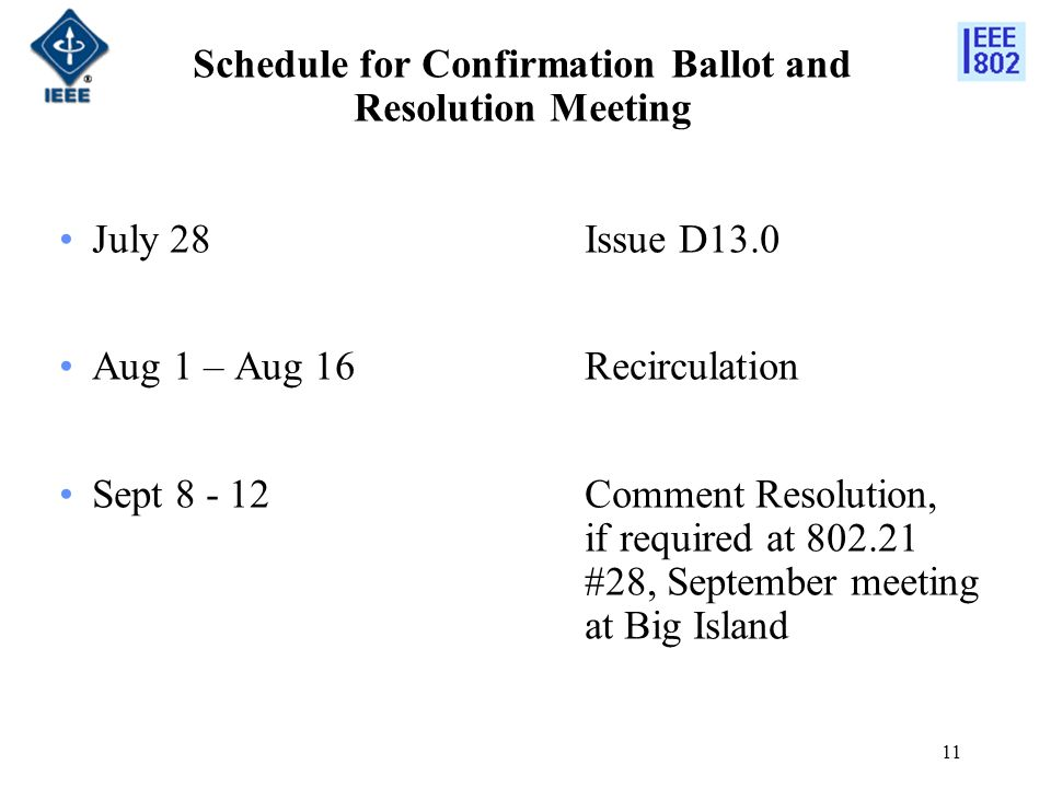 11 Schedule for Confirmation Ballot and Resolution Meeting July 28 Issue D13.0 Aug 1 – Aug 16 Recirculation Sept 8 - 12Comment Resolution, if required at 802.21 #28, September meeting at Big Island