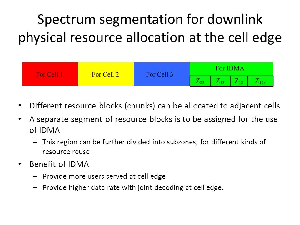 Spectrum segmentation for downlink physical resource allocation at the cell edge Different resource blocks (chunks) can be allocated to adjacent cells A separate segment of resource blocks is to be assigned for the use of IDMA – This region can be further divided into subzones, for different kinds of resource reuse Benefit of IDMA – Provide more users served at cell edge – Provide higher data rate with joint decoding at cell edge.