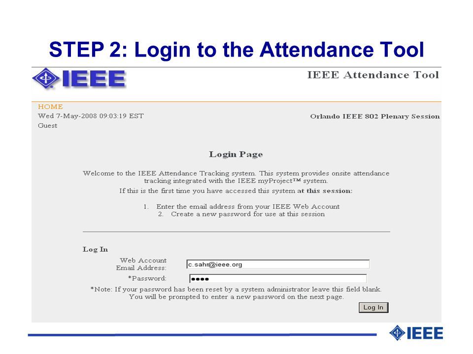 STEP 2: Login to the Attendance Tool