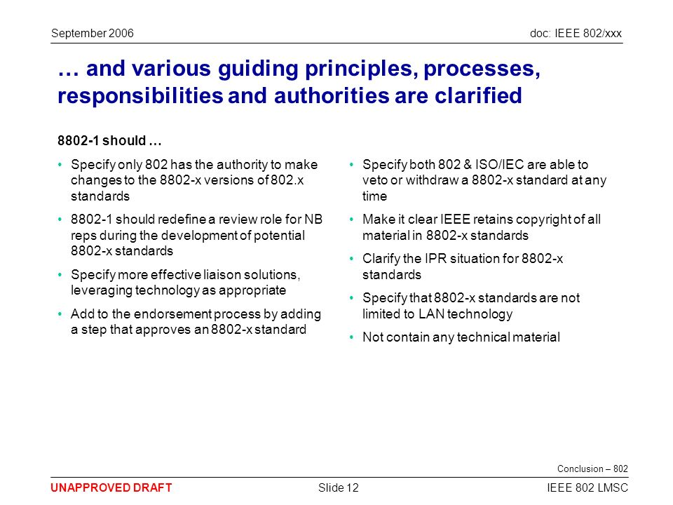 doc: IEEE 802/xxx UNAPPROVED DRAFT September 2006 IEEE 802 LMSCSlide 12 … and various guiding principles, processes, responsibilities and authorities are clarified 8802-1 should … Specify only 802 has the authority to make changes to the 8802-x versions of 802.x standards 8802-1 should redefine a review role for NB reps during the development of potential 8802-x standards Specify more effective liaison solutions, leveraging technology as appropriate Add to the endorsement process by adding a step that approves an 8802-x standard Specify both 802 & ISO/IEC are able to veto or withdraw a 8802-x standard at any time Make it clear IEEE retains copyright of all material in 8802-x standards Clarify the IPR situation for 8802-x standards Specify that 8802-x standards are not limited to LAN technology Not contain any technical material Conclusion – 802