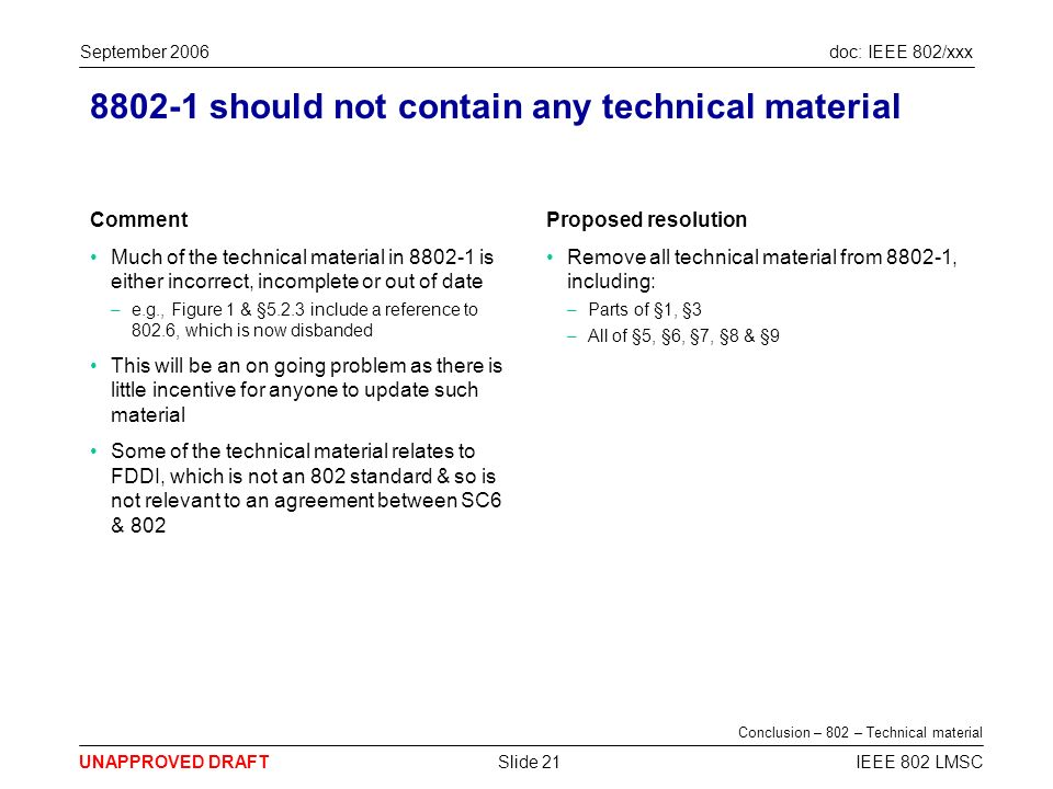 doc: IEEE 802/xxx UNAPPROVED DRAFT September 2006 IEEE 802 LMSCSlide 21 8802-1 should not contain any technical material Comment Much of the technical material in 8802-1 is either incorrect, incomplete or out of date –e.g., Figure 1 & §5.2.3 include a reference to 802.6, which is now disbanded This will be an on going problem as there is little incentive for anyone to update such material Some of the technical material relates to FDDI, which is not an 802 standard & so is not relevant to an agreement between SC6 & 802 Proposed resolution Remove all technical material from 8802-1, including: –Parts of §1, §3 –All of §5, §6, §7, §8 & §9 Conclusion – 802 – Technical material