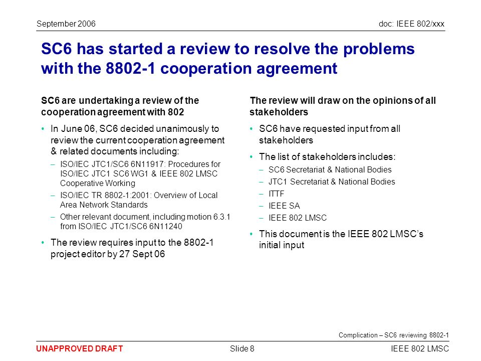 doc: IEEE 802/xxx UNAPPROVED DRAFT September 2006 IEEE 802 LMSCSlide 8 SC6 has started a review to resolve the problems with the 8802-1 cooperation agreement SC6 are undertaking a review of the cooperation agreement with 802 In June 06, SC6 decided unanimously to review the current cooperation agreement & related documents including: –ISO/IEC JTC1/SC6 6N11917: Procedures for ISO/IEC JTC1 SC6 WG1 & IEEE 802 LMSC Cooperative Working –ISO/IEC TR 8802-1:2001: Overview of Local Area Network Standards –Other relevant document, including motion 6.3.1 from ISO/IEC JTC1/SC6 6N11240 The review requires input to the 8802-1 project editor by 27 Sept 06 The review will draw on the opinions of all stakeholders SC6 have requested input from all stakeholders The list of stakeholders includes: –SC6 Secretariat & National Bodies –JTC1 Secretariat & National Bodies –ITTF –IEEE SA –IEEE 802 LMSC This document is the IEEE 802 LMSCs initial input Complication – SC6 reviewing 8802-1