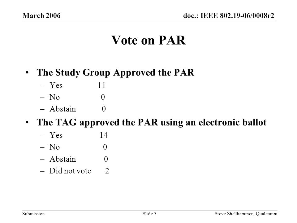 doc.: IEEE /0008r2 Submission March 2006 Steve Shellhammer, QualcommSlide 3 Vote on PAR The Study Group Approved the PAR –Yes 11 –No 0 –Abstain 0 The TAG approved the PAR using an electronic ballot –Yes 14 –No 0 –Abstain 0 –Did not vote 2