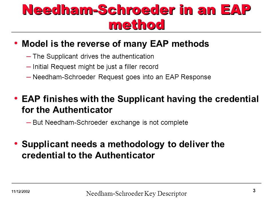 3 Needham-Schroeder Key Descriptor 11/12/2002 Needham-Schroeder in an EAP method Model is the reverse of many EAP methods – The Supplicant drives the authentication – Initial Request might be just a filler record – Needham-Schroeder Request goes into an EAP Response EAP finishes with the Supplicant having the credential for the Authenticator – But Needham-Schroeder exchange is not complete Supplicant needs a methodology to deliver the credential to the Authenticator