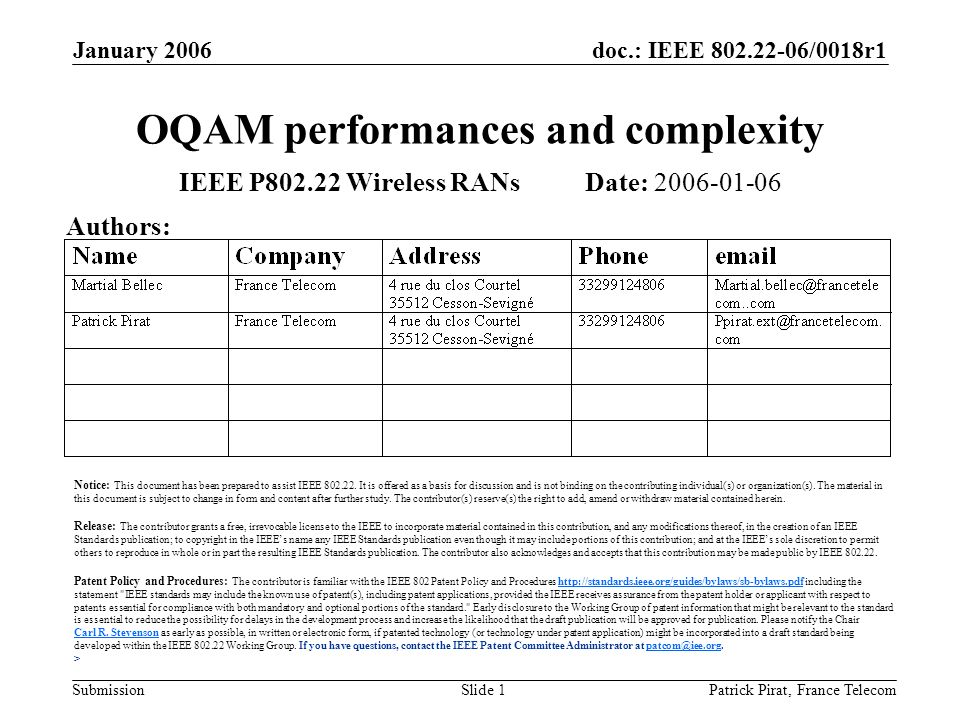 doc.: IEEE 802.22-06/0018r1 Submission January 2006 Patrick Pirat, France TelecomSlide 1 OQAM performances and complexity IEEE P802.22 Wireless RANs Date: 2006-01-06 Authors: Notice: This document has been prepared to assist IEEE 802.22.