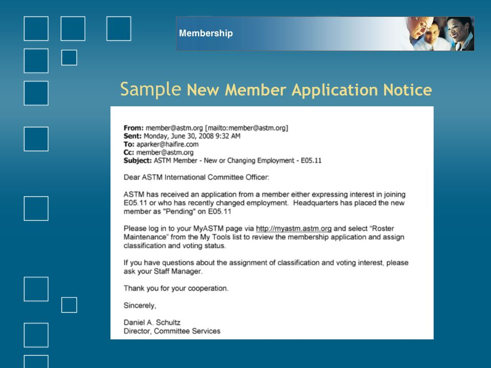Sample New Member Application Notice