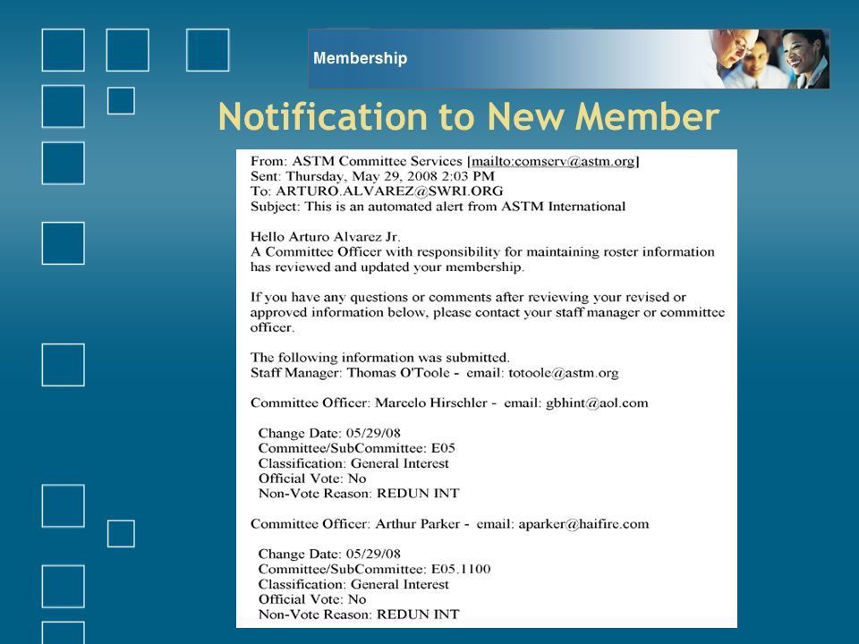 Notification to New Member