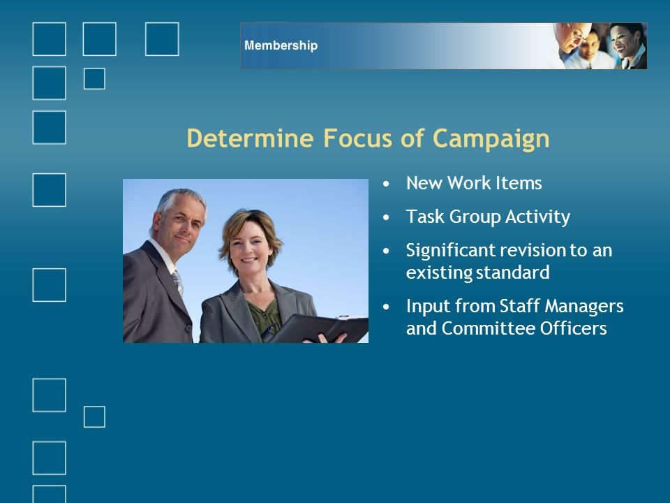Determine Focus of Campaign New Work Items Task Group Activity Significant revision to an existing standard Input from Staff Managers and Committee Officers