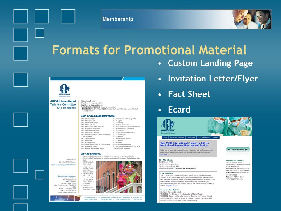 Formats for Promotional Material Custom Landing Page Invitation Letter/Flyer Fact Sheet Ecard