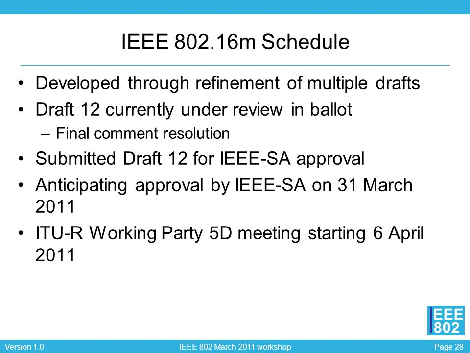 Page 28Version 1.0 IEEE 802 March 2011 workshop EEE 802 IEEE 802.16m Schedule Developed through refinement of multiple drafts Draft 12 currently under review in ballot –Final comment resolution Submitted Draft 12 for IEEE-SA approval Anticipating approval by IEEE-SA on 31 March 2011 ITU-R Working Party 5D meeting starting 6 April 2011