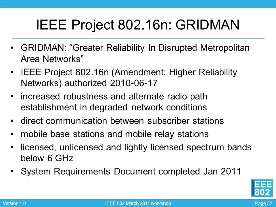 Page 32Version 1.0 IEEE 802 March 2011 workshop EEE 802 IEEE Project 802.16n: GRIDMAN GRIDMAN: Greater Reliability In Disrupted Metropolitan Area Networks IEEE Project 802.16n (Amendment: Higher Reliability Networks) authorized 2010-06-17 increased robustness and alternate radio path establishment in degraded network conditions direct communication between subscriber stations mobile base stations and mobile relay stations licensed, unlicensed and lightly licensed spectrum bands below 6 GHz System Requirements Document completed Jan 2011