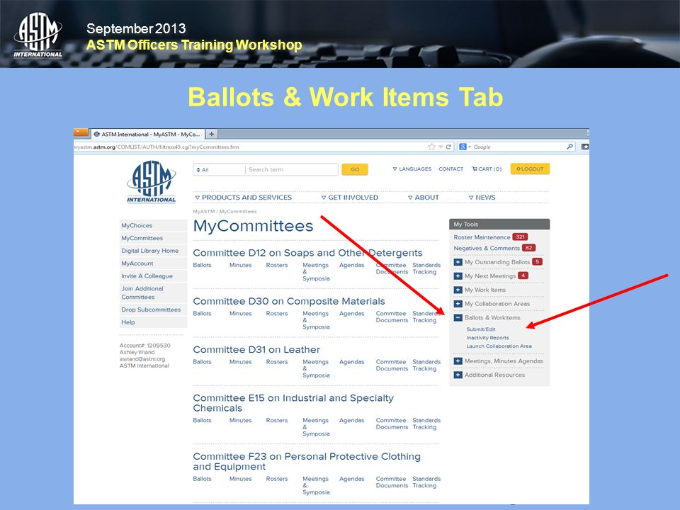 September 2013 ASTM Officers Training Workshop September 2013 ASTM Officers Training Workshop Ballots & Work Items Tab 23