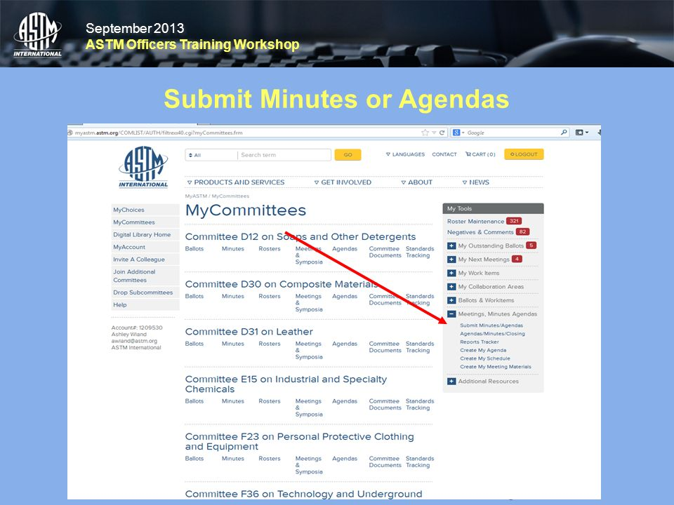 September 2013 ASTM Officers Training Workshop September 2013 ASTM Officers Training Workshop Submit Minutes or Agendas 28