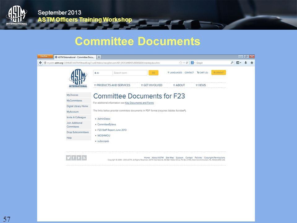 September 2013 ASTM Officers Training Workshop September 2013 ASTM Officers Training Workshop Committee Documents 57