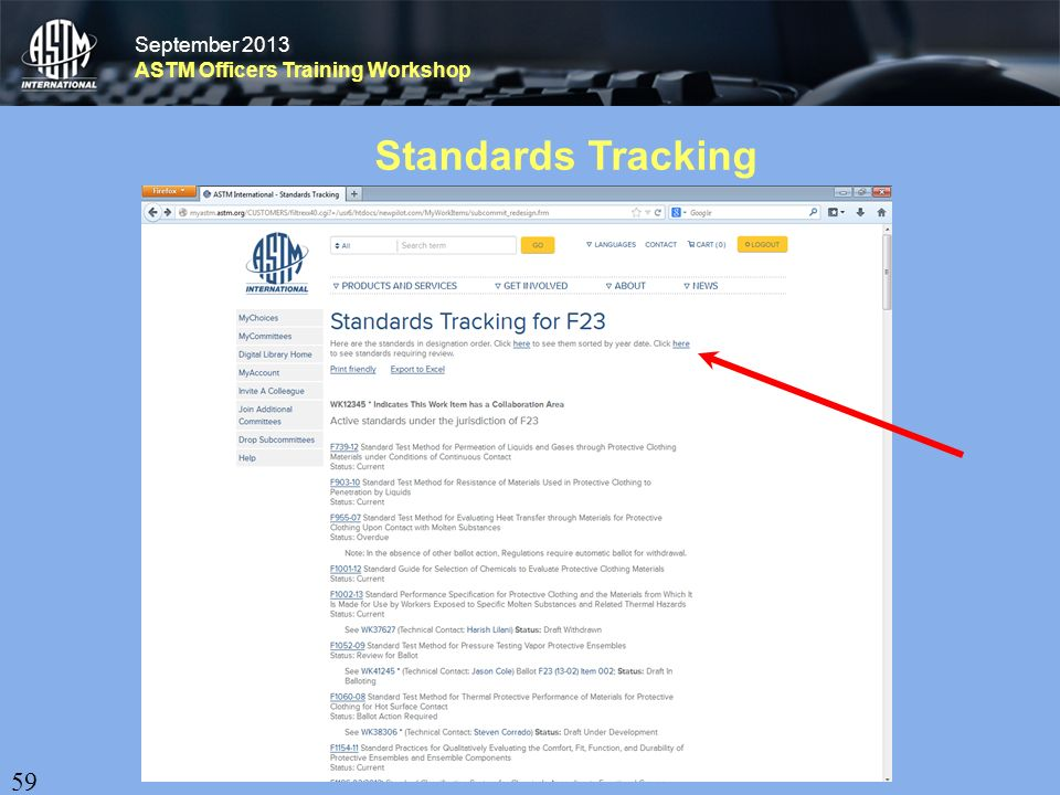 September 2013 ASTM Officers Training Workshop September 2013 ASTM Officers Training Workshop Standards Tracking 59