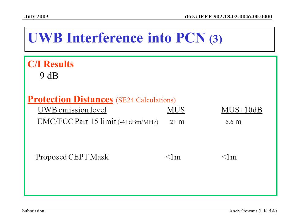doc.: IEEE 802.18-03-0046-00-0000 Submission July 2003 Andy Gowans (UK RA) UWB Interference into PCN (3) C/I Results 9 dB Protection Distances (SE24 Calculations) UWB emission level MUS MUS+10dB EMC/FCC Part 15 limit (-41dBm/MHz) 21 m 6.6 m Proposed CEPT Mask <1m <1m