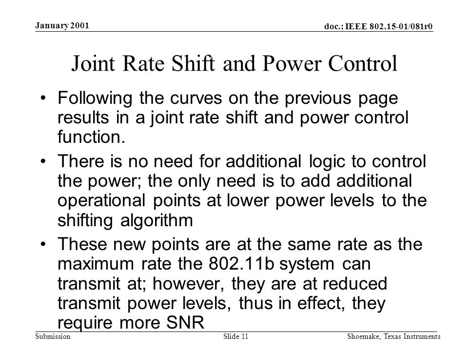 doc.: IEEE /081r0 Submission January 2001 Shoemake, Texas InstrumentsSlide 11 Joint Rate Shift and Power Control Following the curves on the previous page results in a joint rate shift and power control function.