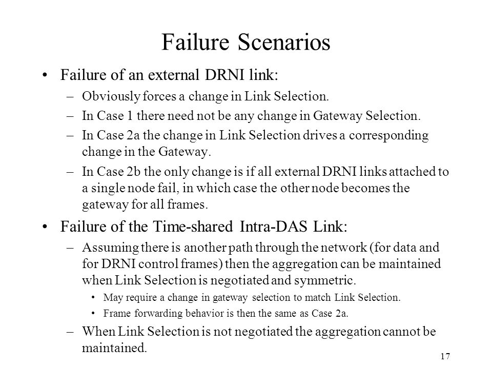 Failure Scenarios Failure of an external DRNI link: –Obviously forces a change in Link Selection.