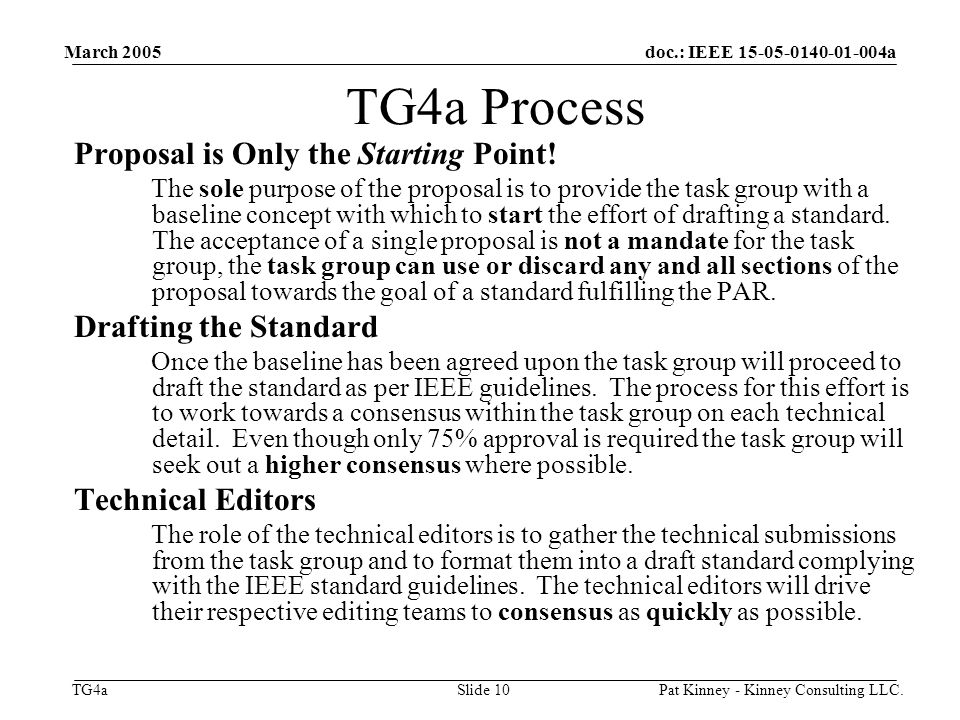 doc.: IEEE 15-05-0140-01-004a TG4a March 2005 Pat Kinney - Kinney Consulting LLC.Slide 10 TG4a Process Proposal is Only the Starting Point.