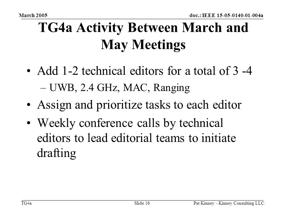 doc.: IEEE 15-05-0140-01-004a TG4a March 2005 Pat Kinney - Kinney Consulting LLC.Slide 16 TG4a Activity Between March and May Meetings Add 1-2 technical editors for a total of 3 -4 –UWB, 2.4 GHz, MAC, Ranging Assign and prioritize tasks to each editor Weekly conference calls by technical editors to lead editorial teams to initiate drafting