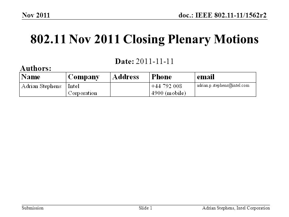 doc.: IEEE /1562r2 Submission Nov 2011 Adrian Stephens, Intel CorporationSlide Nov 2011 Closing Plenary Motions Date: Authors: