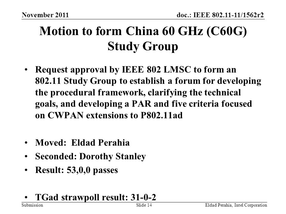 doc.: IEEE /1562r2 Submission Motion to form China 60 GHz (C60G) Study Group Request approval by IEEE 802 LMSC to form an Study Group to establish a forum for developing the procedural framework, clarifying the technical goals, and developing a PAR and five criteria focused on CWPAN extensions to P802.11ad Moved: Eldad Perahia Seconded: Dorothy Stanley Result: 53,0,0 passes TGad strawpoll result: November 2011 Eldad Perahia, Intel CorporationSlide 14