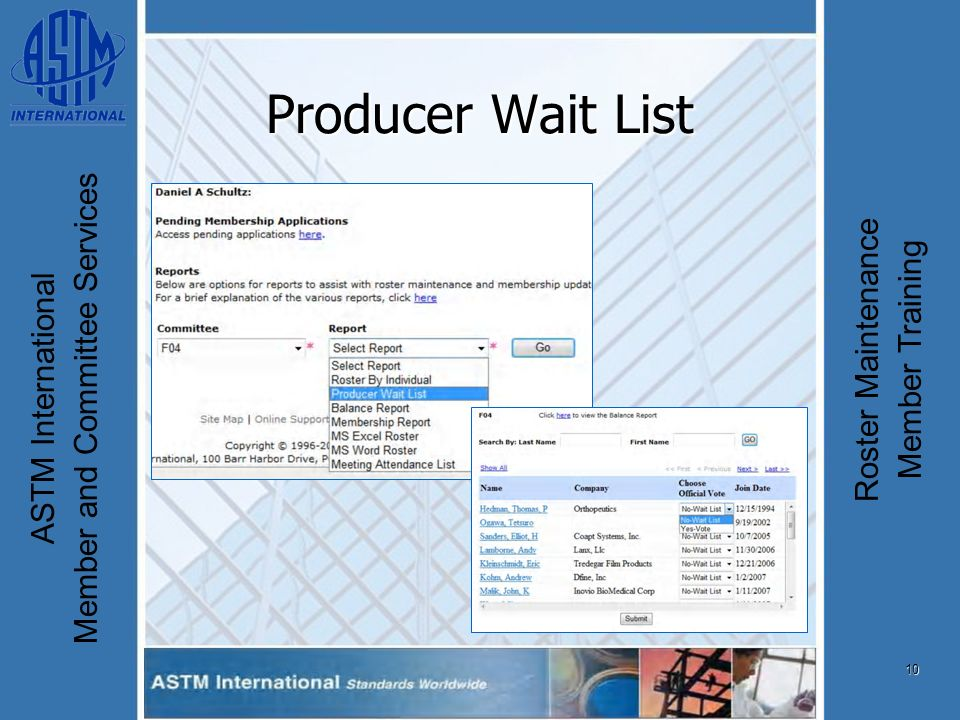 10 ASTM International Member and Committee Services Roster Maintenance Member Training Producer Wait List