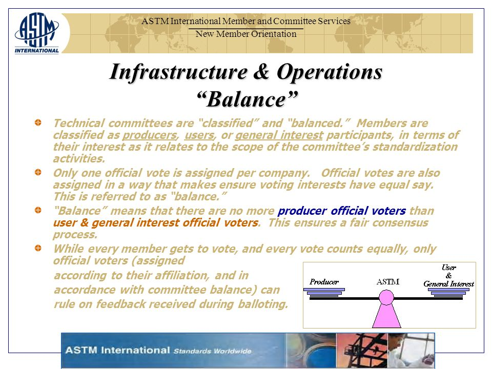 ASTM International Member and Committee Services New Member Orientation Infrastructure & Operations Balance Technical committees are classified and balanced.