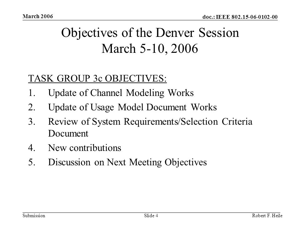 doc.: IEEE Submission March 2006 Robert F.