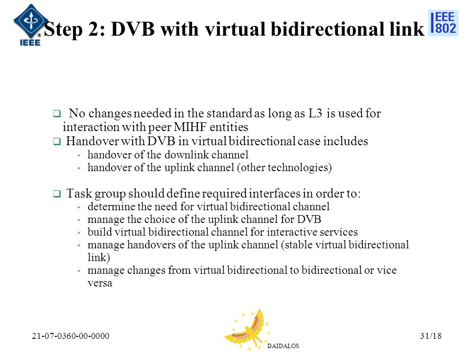 DAIDALOS 21-07-0360-00-000031/18 Step 2: DVB with virtual bidirectional link No changes needed in the standard as long as L3 is used for interaction with peer MIHF entities Handover with DVB in virtual bidirectional case includes handover of the downlink channel handover of the uplink channel (other technologies) Task group should define required interfaces in order to: determine the need for virtual bidirectional channel manage the choice of the uplink channel for DVB build virtual bidirectional channel for interactive services manage handovers of the uplink channel (stable virtual bidirectional link) manage changes from virtual bidirectional to bidirectional or vice versa
