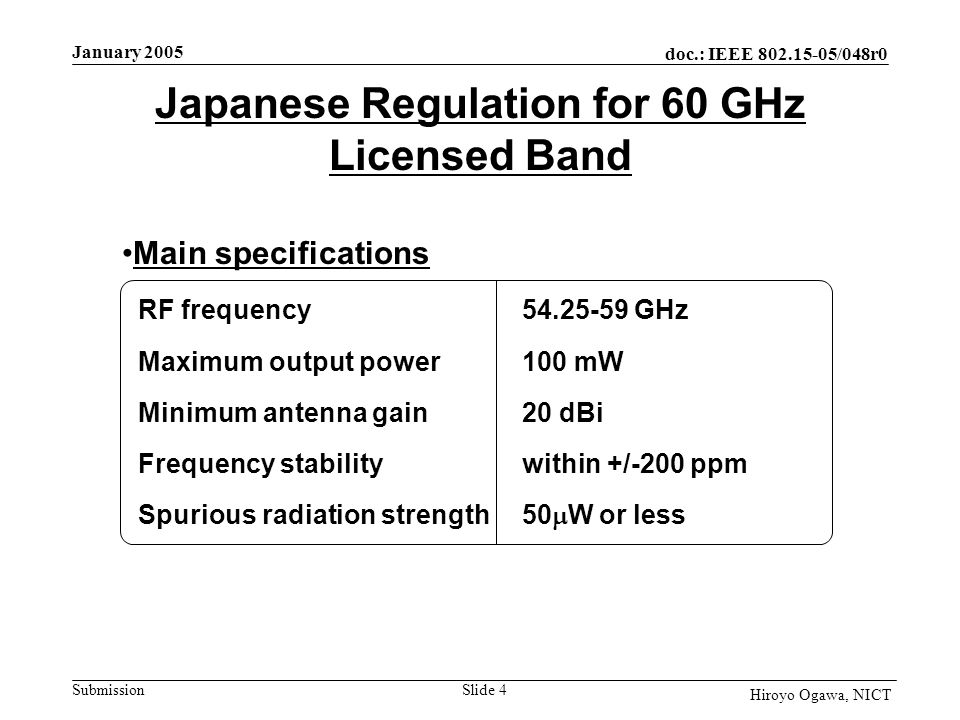doc.: IEEE 802.15-05/048r0 Submission January 2005 Slide 4 Hiroyo Ogawa, NICT Japanese Regulation for 60 GHz Licensed Band RF frequency54.25-59 GHz Maximum output power100 mW Minimum antenna gain20 dBi Frequency stabilitywithin +/-200 ppm Spurious radiation strength50 W or less Main specifications