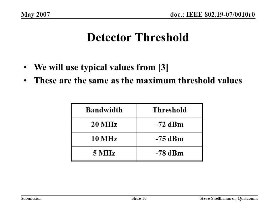 doc.: IEEE 802.19-07/0010r0 Submission May 2007 Steve Shellhammer, QualcommSlide 10 Detector Threshold BandwidthThreshold 20 MHz-72 dBm 10 MHz-75 dBm 5 MHz-78 dBm We will use typical values from [3] These are the same as the maximum threshold values