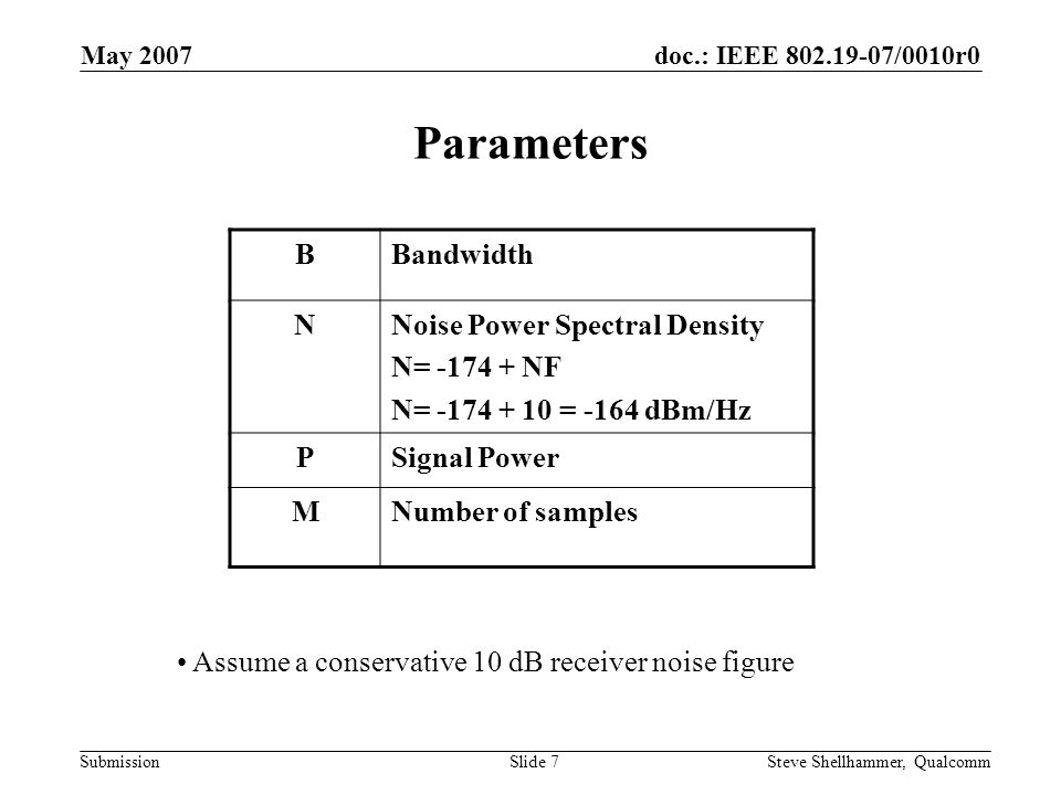 doc.: IEEE 802.19-07/0010r0 Submission May 2007 Steve Shellhammer, QualcommSlide 7 Parameters BBandwidth NNoise Power Spectral Density N= -174 + NF N= -174 + 10 = -164 dBm/Hz PSignal Power MNumber of samples Assume a conservative 10 dB receiver noise figure