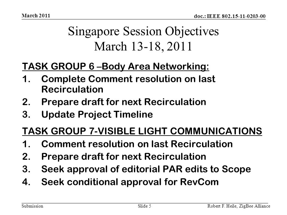 doc.: IEEE 802.15-11-0203-00 Submission March 2011 Robert F.