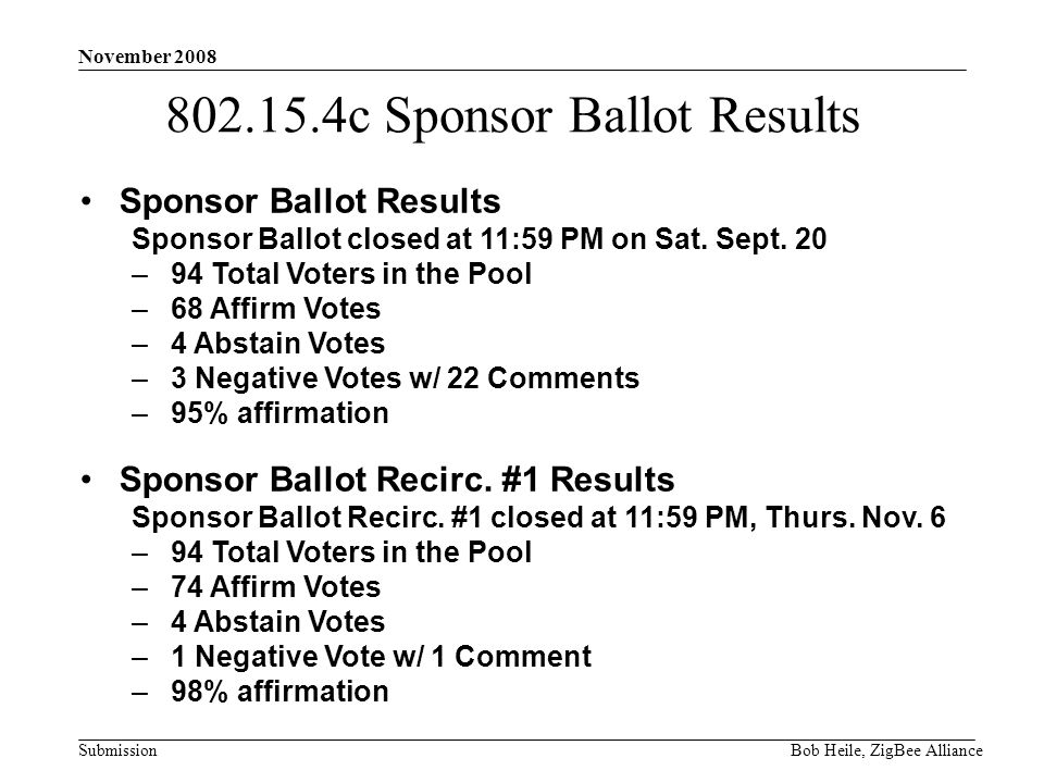 Submission November 2008 Bob Heile, ZigBee Alliance 802.15.4c Sponsor Ballot Results Sponsor Ballot Results Sponsor Ballot closed at 11:59 PM on Sat.