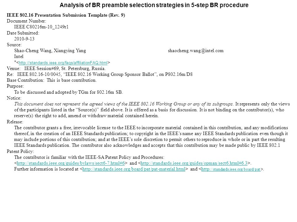 Analysis of BR preamble selection strategies in 5-step BR procedure ...
