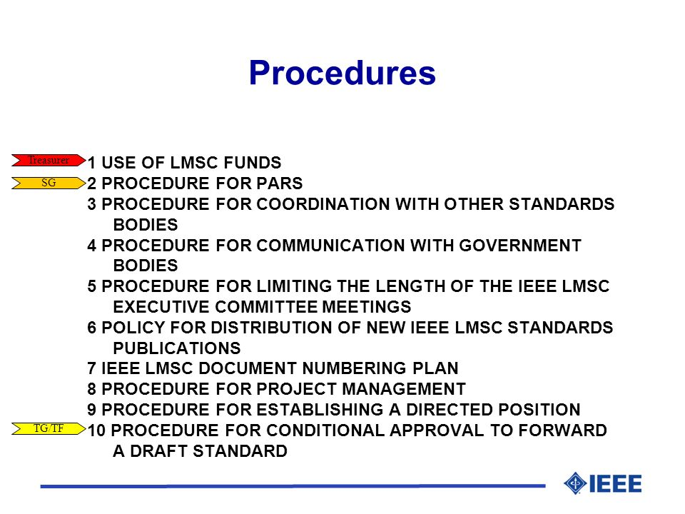 Procedures 1 USE OF LMSC FUNDS 2 PROCEDURE FOR PARS 3 PROCEDURE FOR COORDINATION WITH OTHER STANDARDS BODIES 4 PROCEDURE FOR COMMUNICATION WITH GOVERNMENT BODIES 5 PROCEDURE FOR LIMITING THE LENGTH OF THE IEEE LMSC EXECUTIVE COMMITTEE MEETINGS 6 POLICY FOR DISTRIBUTION OF NEW IEEE LMSC STANDARDS PUBLICATIONS 7 IEEE LMSC DOCUMENT NUMBERING PLAN 8 PROCEDURE FOR PROJECT MANAGEMENT 9 PROCEDURE FOR ESTABLISHING A DIRECTED POSITION 10 PROCEDURE FOR CONDITIONAL APPROVAL TO FORWARD A DRAFT STANDARD Treasurer SG TG/TF