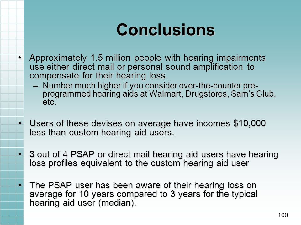 Conclusions Approximately 1.5 million people with hearing impairments use either direct mail or personal sound amplification to compensate for their hearing loss.Approximately 1.5 million people with hearing impairments use either direct mail or personal sound amplification to compensate for their hearing loss.