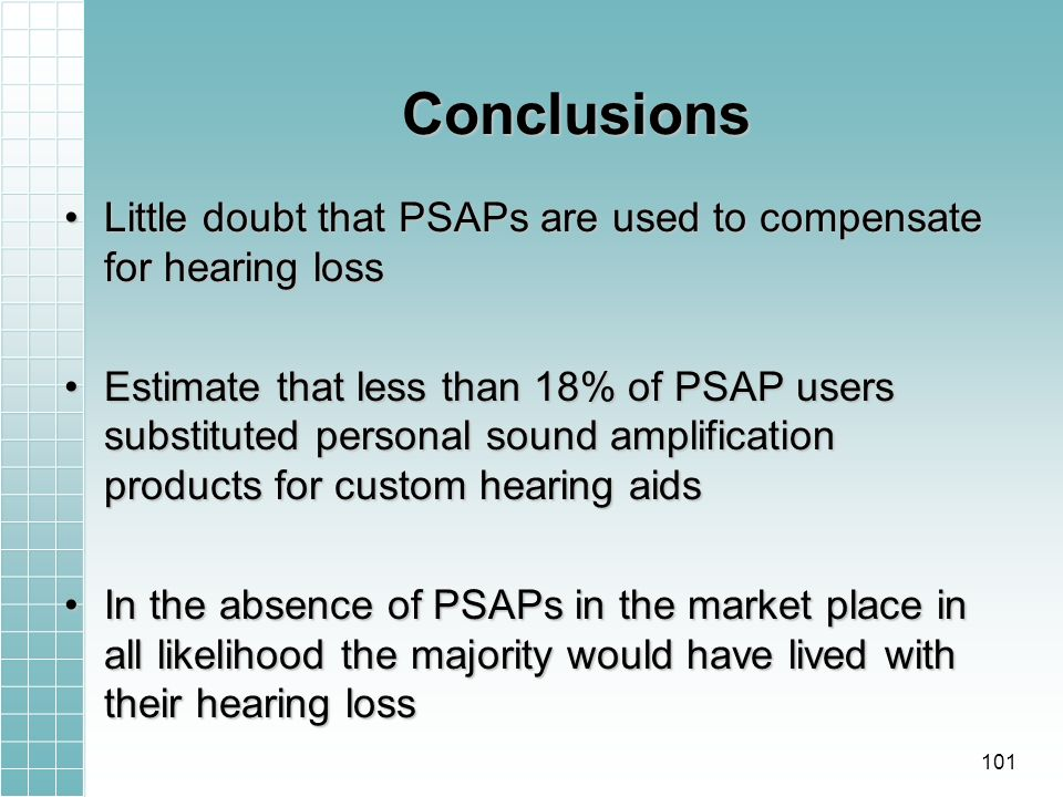 Conclusions Little doubt that PSAPs are used to compensate for hearing lossLittle doubt that PSAPs are used to compensate for hearing loss Estimate that less than 18% of PSAP users substituted personal sound amplification products for custom hearing aidsEstimate that less than 18% of PSAP users substituted personal sound amplification products for custom hearing aids In the absence of PSAPs in the market place in all likelihood the majority would have lived with their hearing lossIn the absence of PSAPs in the market place in all likelihood the majority would have lived with their hearing loss 101